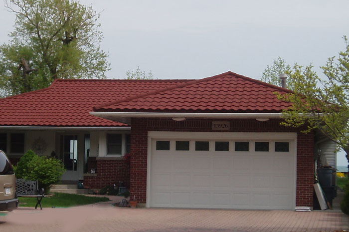 Metal tile roofing photo gallery metal roof outlet ontario for Red brick house with metal roof