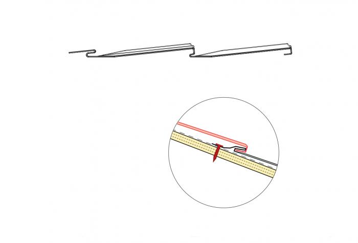 Diagram showing the interlocking system of CF Shingles